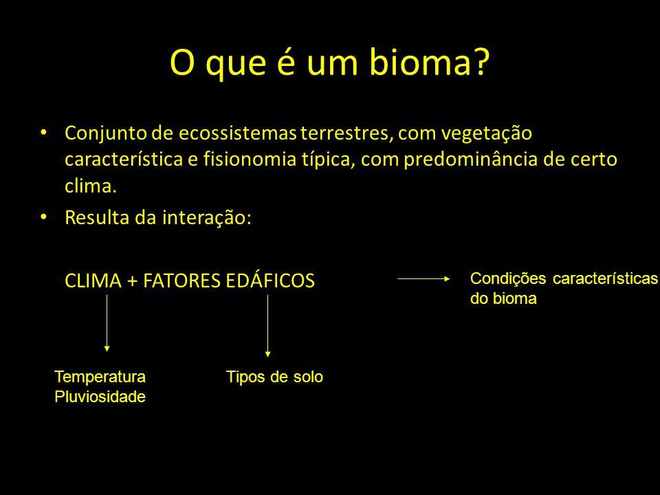O que é um bioma? Conjunto de ecossistemas terrestres, com vegetação característica e fisionomia típica, com predominância de certo clima. Resulta da