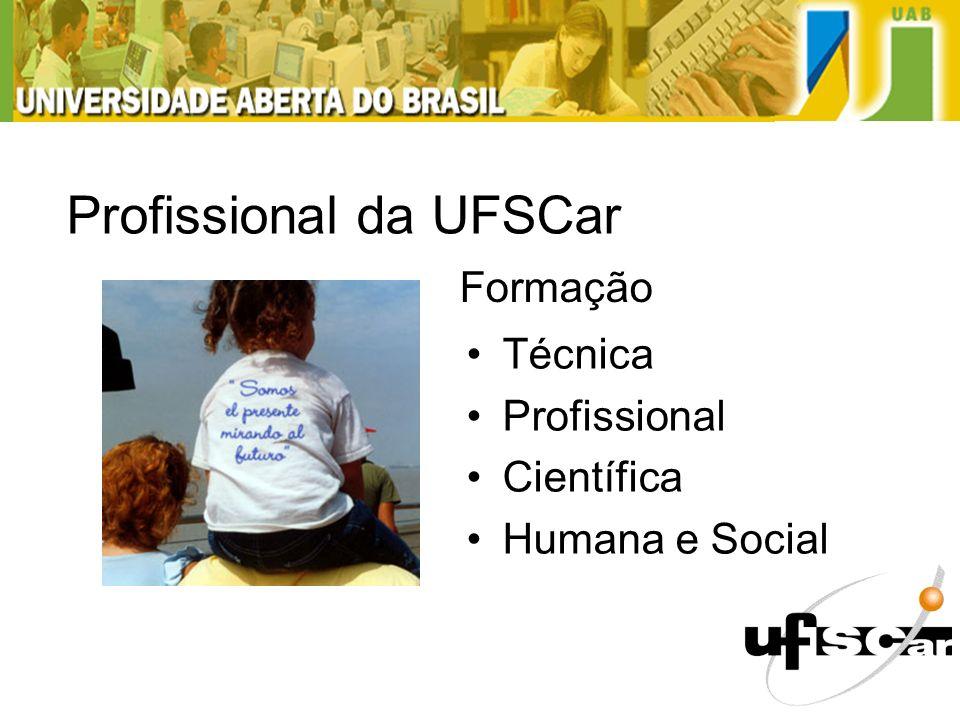 Profissional Formado na UFSCar Técnica Profissional Científica Humana e Social Profissional da UFSCar Formação