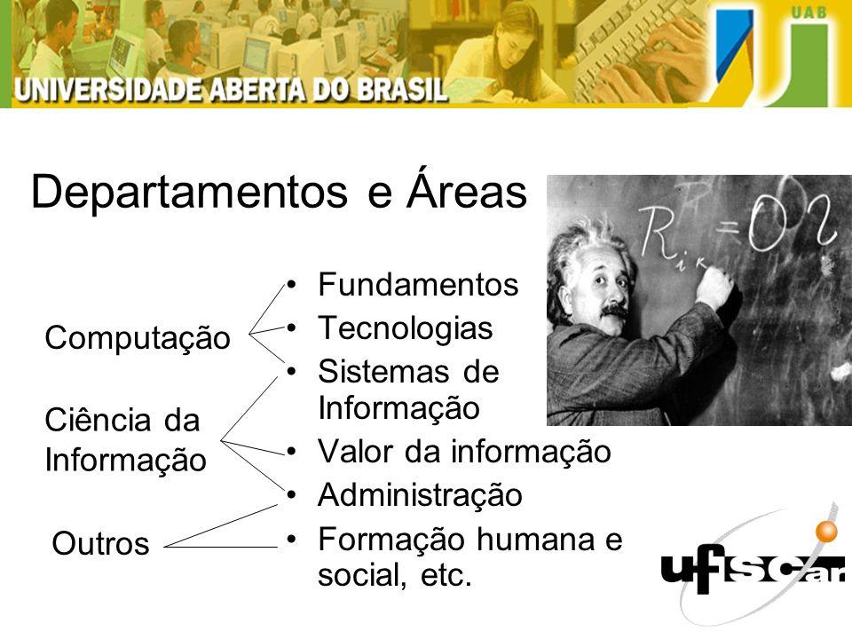 Departamentos e Áreas Fundamentos Tecnologias Sistemas de Informação Valor da informação Administração Formação humana e social, etc. Ciência da Infor
