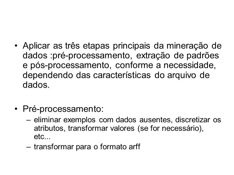 Aplicar as três etapas principais da mineração de dados :pré-processamento, extração de padrões e pós-processamento, conforme a necessidade, dependendo das características do arquivo de dados.