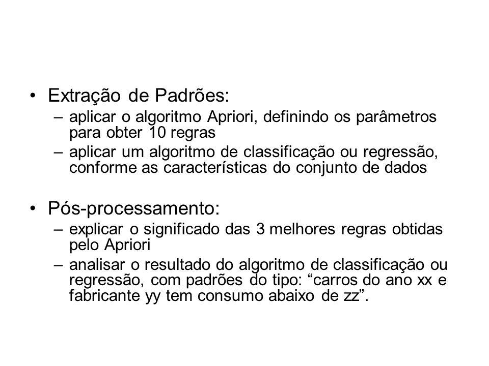 Extração de Padrões: –aplicar o algoritmo Apriori, definindo os parâmetros para obter 10 regras –aplicar um algoritmo de classificação ou regressão, c