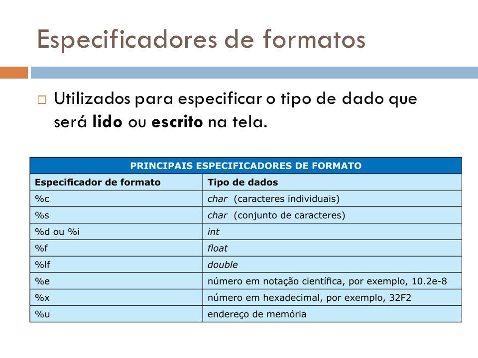 Especificadores de formatos Utilizados para especificar o tipo de dado que será lido ou escrito na tela.