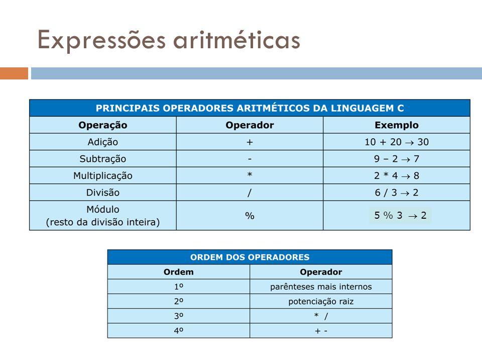 Expressões aritméticas 5 % 3 2
