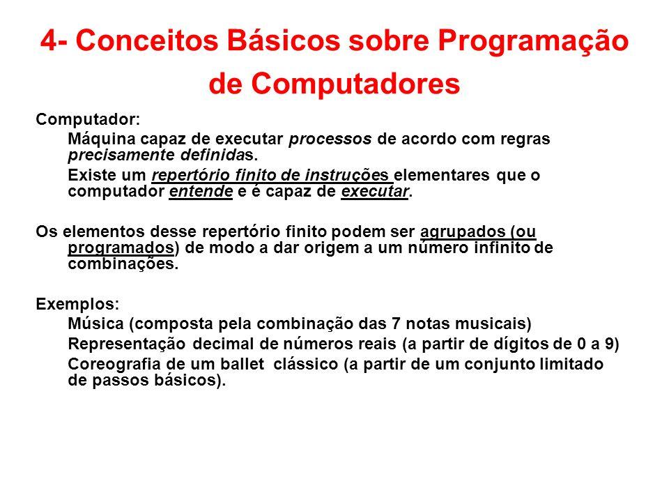 4- Conceitos Básicos sobre Programação de Computadores Computador: Máquina capaz de executar processos de acordo com regras precisamente definidas. Ex