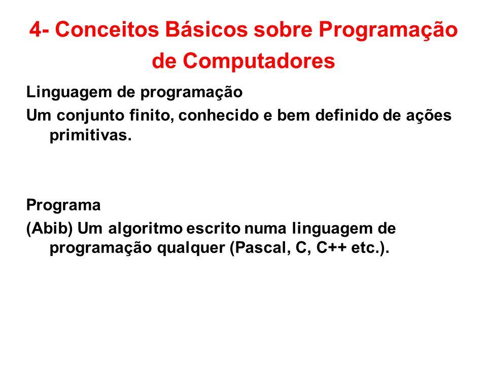 4- Conceitos Básicos sobre Programação de Computadores Linguagem de programação Um conjunto finito, conhecido e bem definido de ações primitivas. Prog