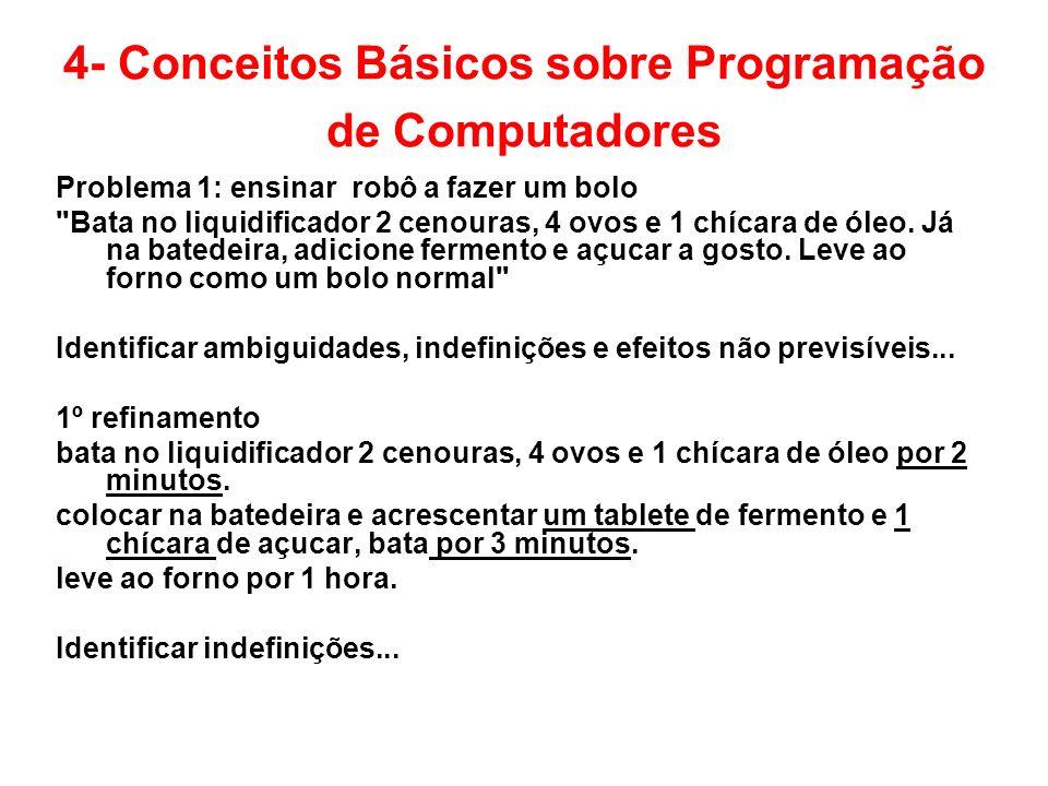4- Conceitos Básicos sobre Programação de Computadores Problema 1: ensinar robô a fazer um bolo