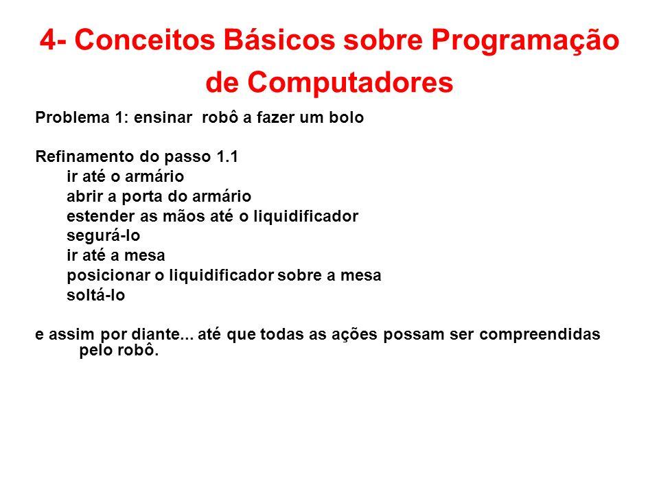 4- Conceitos Básicos sobre Programação de Computadores Problema 1: ensinar robô a fazer um bolo Refinamento do passo 1.1 ir até o armário abrir a port