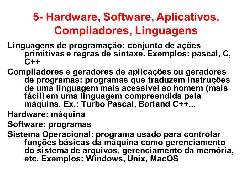 5- Hardware, Software, Aplicativos, Compiladores, Linguagens Linguagens de programação: conjunto de ações primitivas e regras de sintaxe. Exemplos: pa