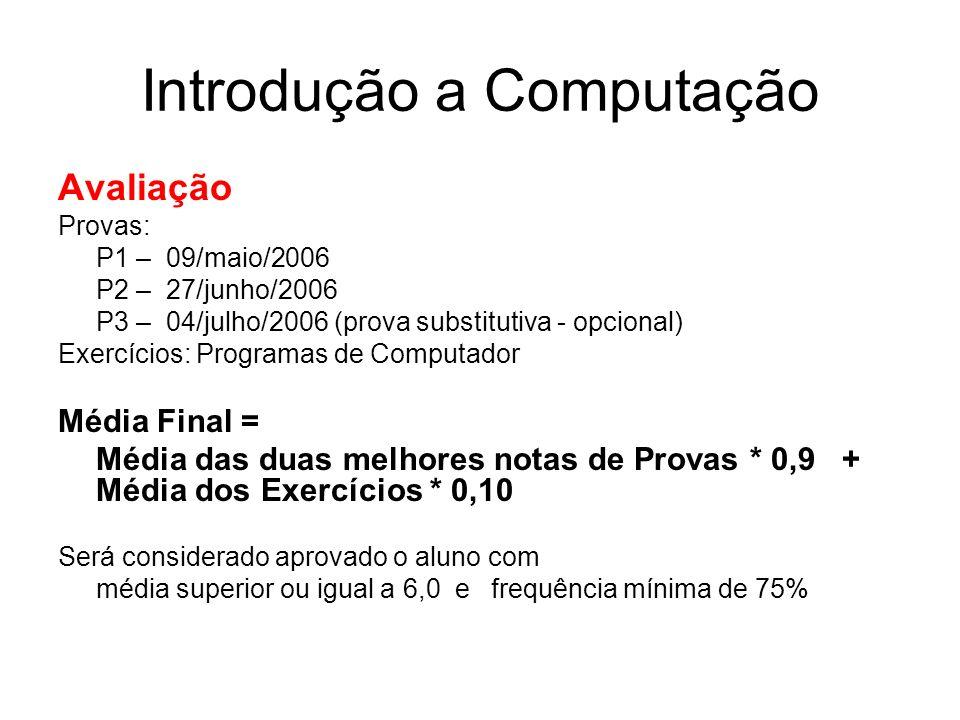 Introdução a Computação Avaliação Provas: P1 – 09/maio/2006 P2 – 27/junho/2006 P3 – 04/julho/2006 (prova substitutiva - opcional) Exercícios: Programa