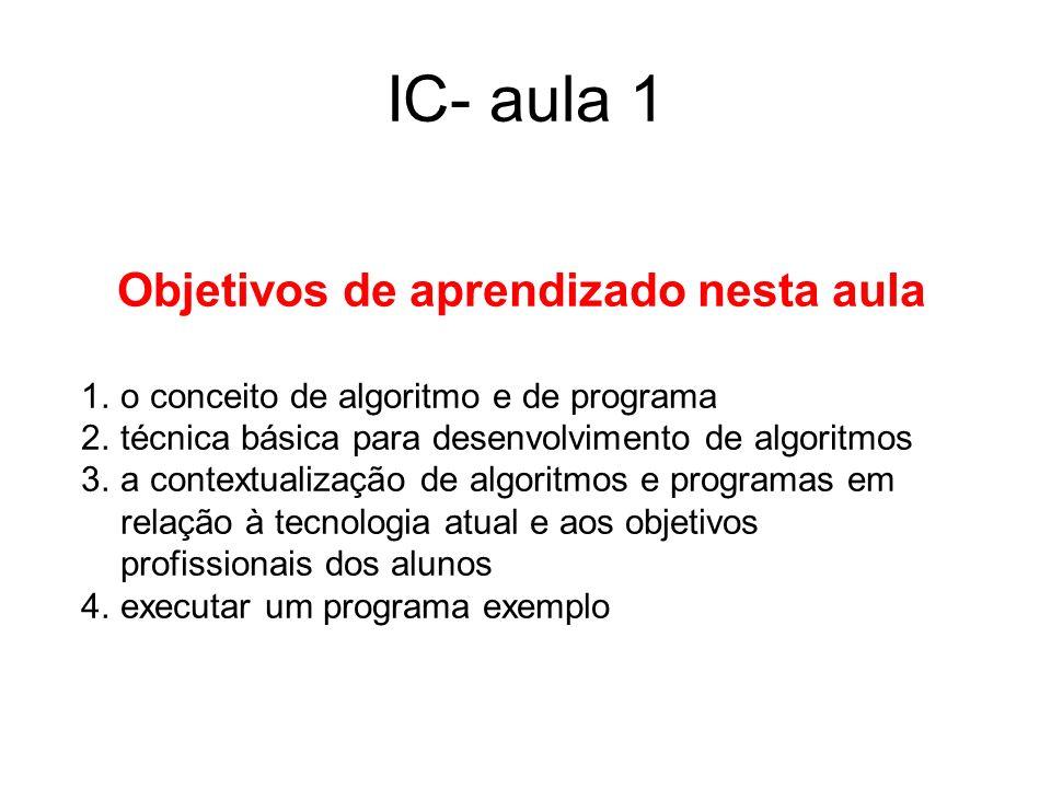 IC- aula 1 Objetivos de aprendizado nesta aula 1.o conceito de algoritmo e de programa 2.técnica básica para desenvolvimento de algoritmos 3.a context