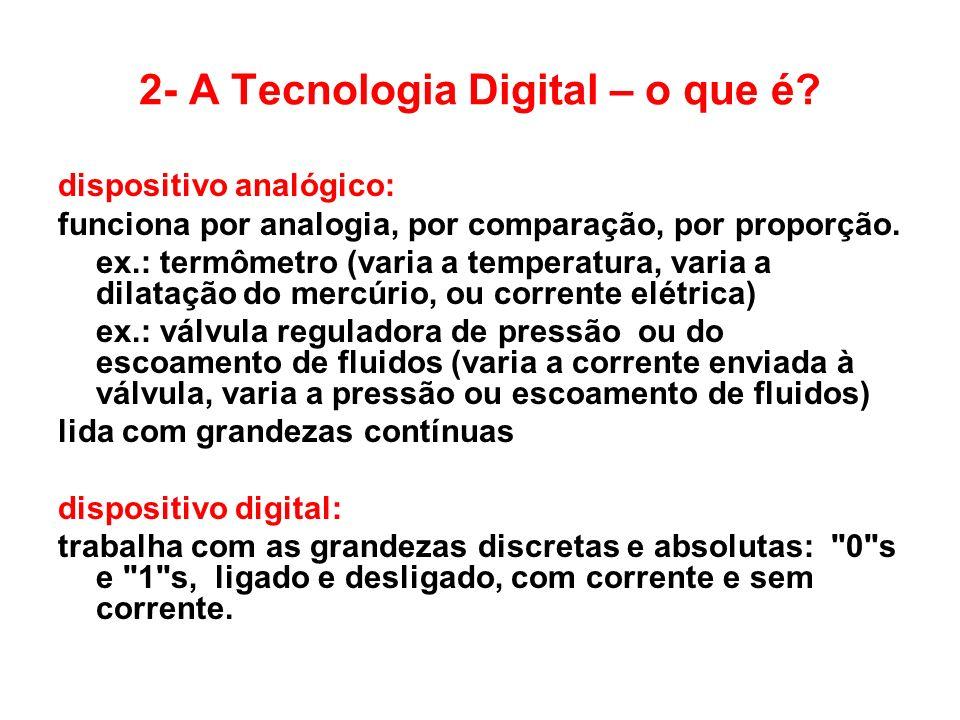 2- A Tecnologia Digital – o que é? dispositivo analógico: funciona por analogia, por comparação, por proporção. ex.: termômetro (varia a temperatura,