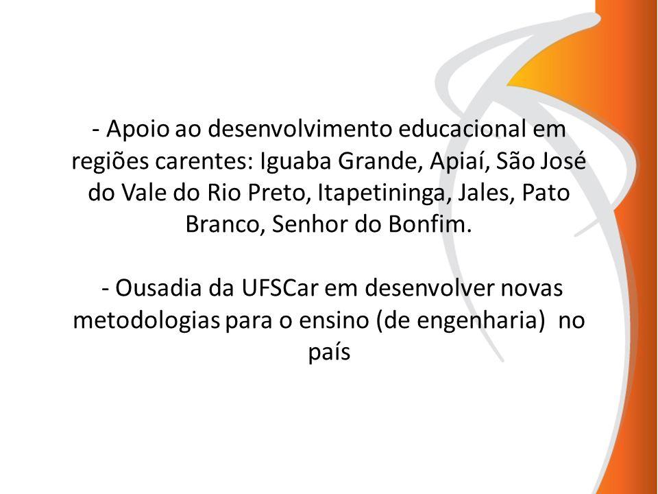 - Apoio ao desenvolvimento educacional em regiões carentes: Iguaba Grande, Apiaí, São José do Vale do Rio Preto, Itapetininga, Jales, Pato Branco, Sen