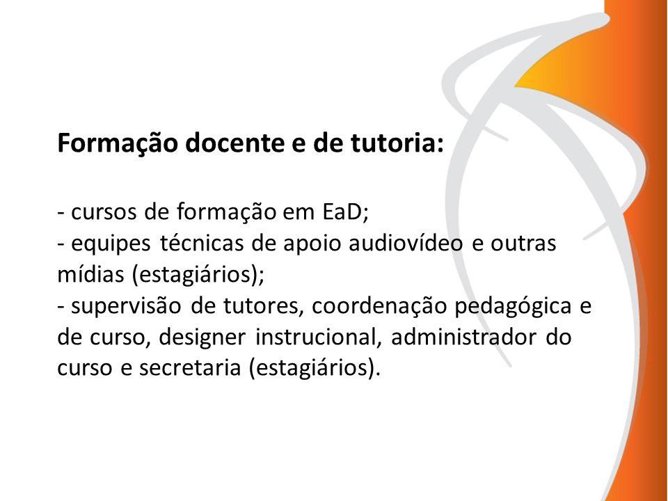 Formação docente e de tutoria: - cursos de formação em EaD; - equipes técnicas de apoio audiovídeo e outras mídias (estagiários); - supervisão de tuto