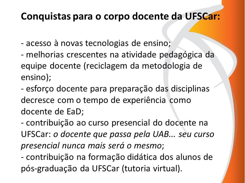 Conquistas para o corpo docente da UFSCar: - acesso à novas tecnologias de ensino; - melhorias crescentes na atividade pedagógica da equipe docente (r