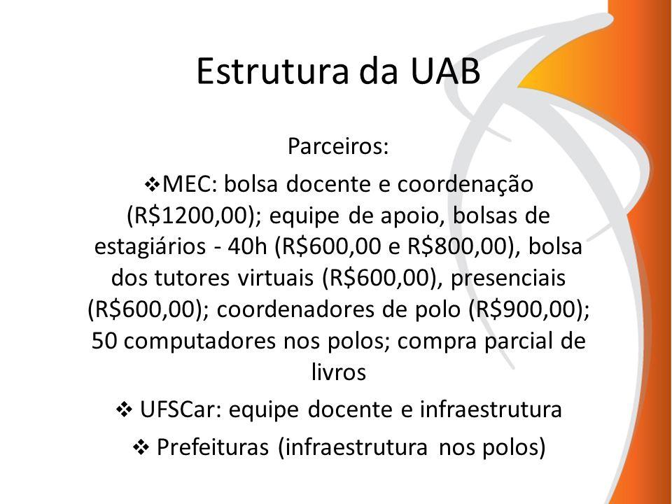 Estrutura da UAB Parceiros: MEC: bolsa docente e coordenação (R$1200,00); equipe de apoio, bolsas de estagiários - 40h (R$600,00 e R$800,00), bolsa do