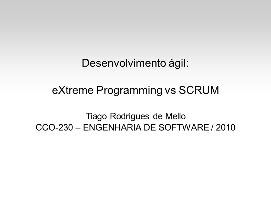 SCRUM Framework iterativo e incremental para desenvolvimento ágil de sofware; Não há prática de engenharia pré-definida; Conjunto de práticas e papéis predefinidos; Sprints (iterações);