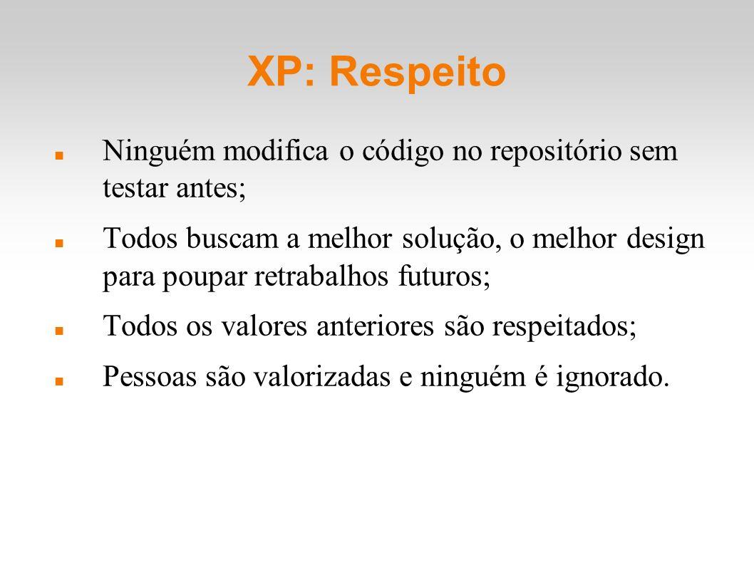 XP: Respeito Ninguém modifica o código no repositório sem testar antes; Todos buscam a melhor solução, o melhor design para poupar retrabalhos futuros