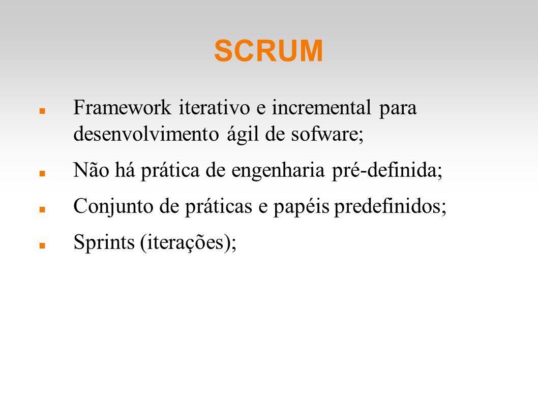 SCRUM Framework iterativo e incremental para desenvolvimento ágil de sofware; Não há prática de engenharia pré-definida; Conjunto de práticas e papéis