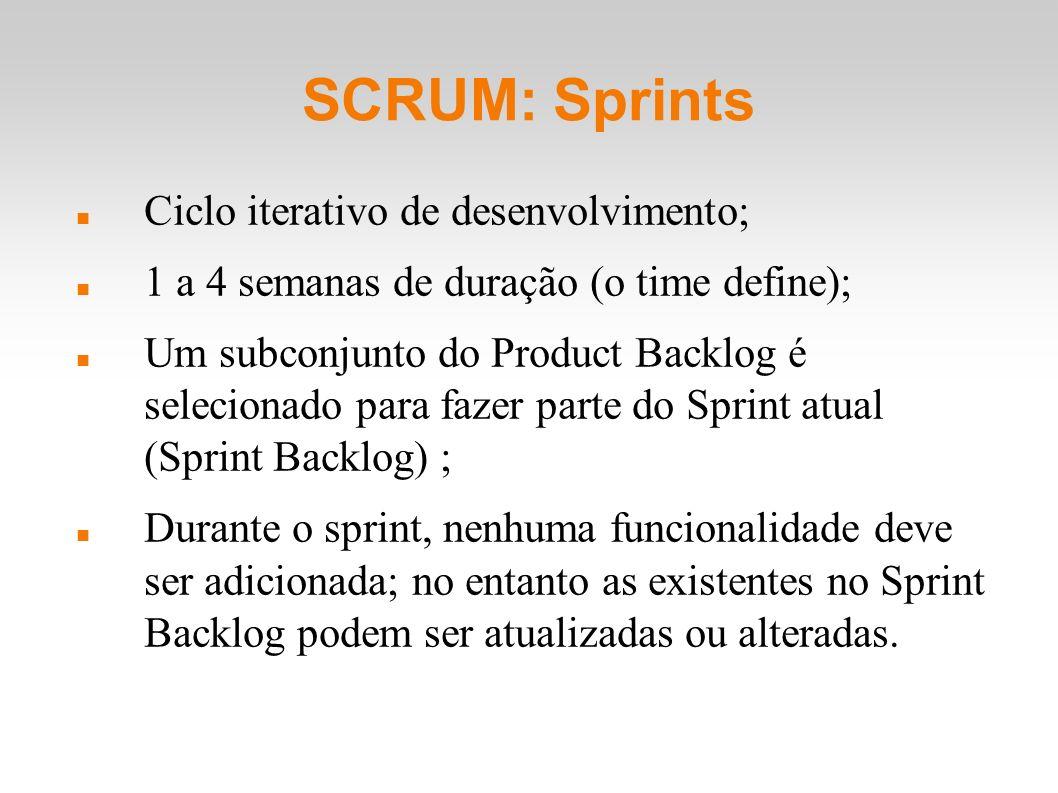 SCRUM: Sprints Ciclo iterativo de desenvolvimento; 1 a 4 semanas de duração (o time define); Um subconjunto do Product Backlog é selecionado para faze
