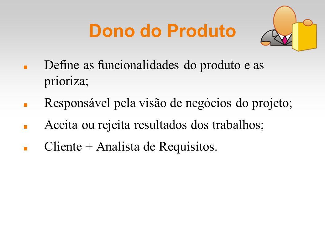 Dono do Produto Define as funcionalidades do produto e as prioriza; Responsável pela visão de negócios do projeto; Aceita ou rejeita resultados dos tr