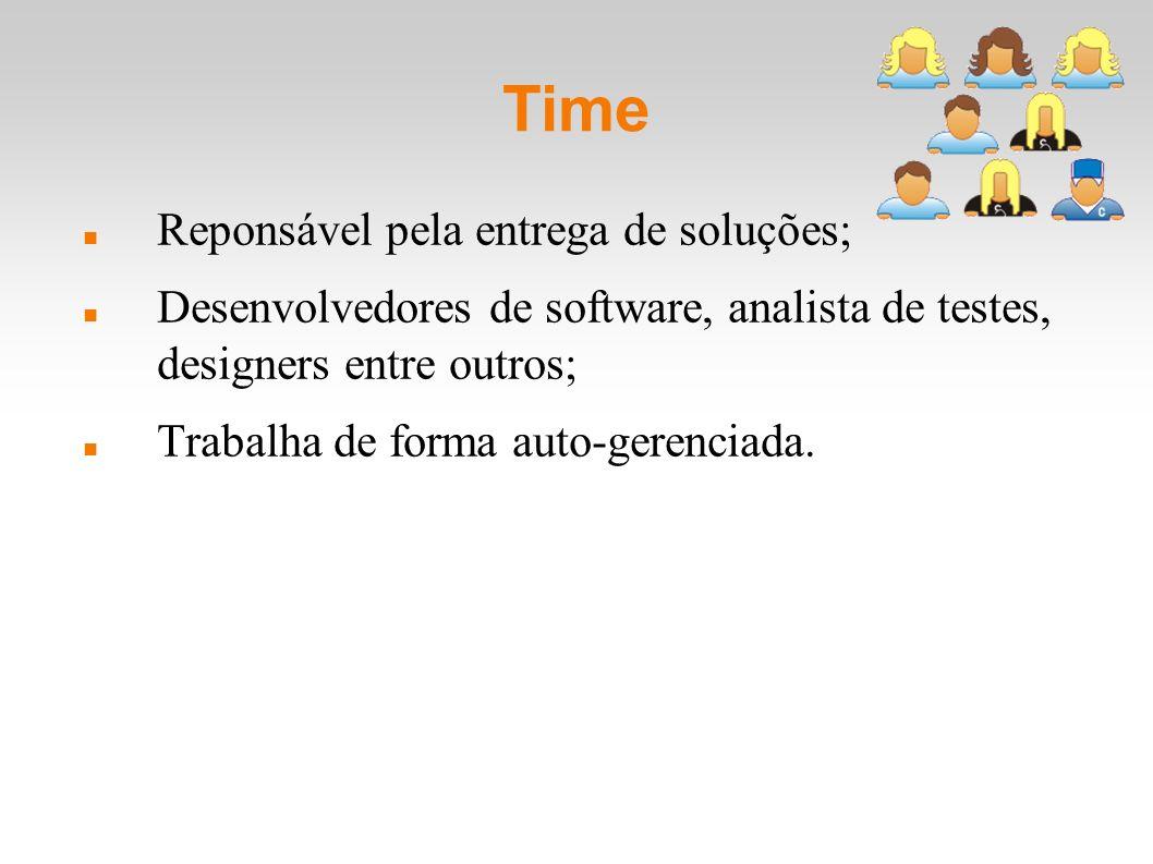 Time Reponsável pela entrega de soluções; Desenvolvedores de software, analista de testes, designers entre outros; Trabalha de forma auto-gerenciada.