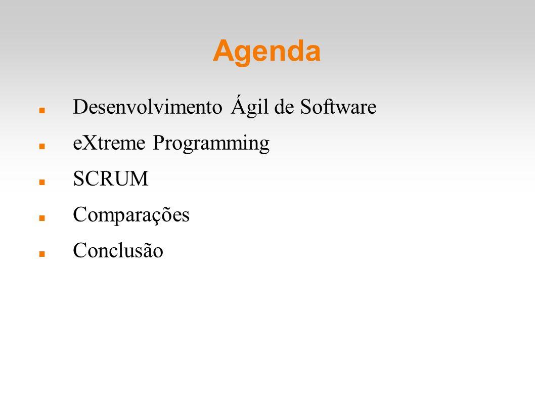 XP vs SCRUM Diferenças: SCRUM tem papéis pré-definidos; XP a validação do software é feita a todo instante (Testes); SCRUM somente ao final de cada Sprint; XP adota a programação em par como prática fundamental; XP é um método e SCRUM é um FRAMEWORK?!