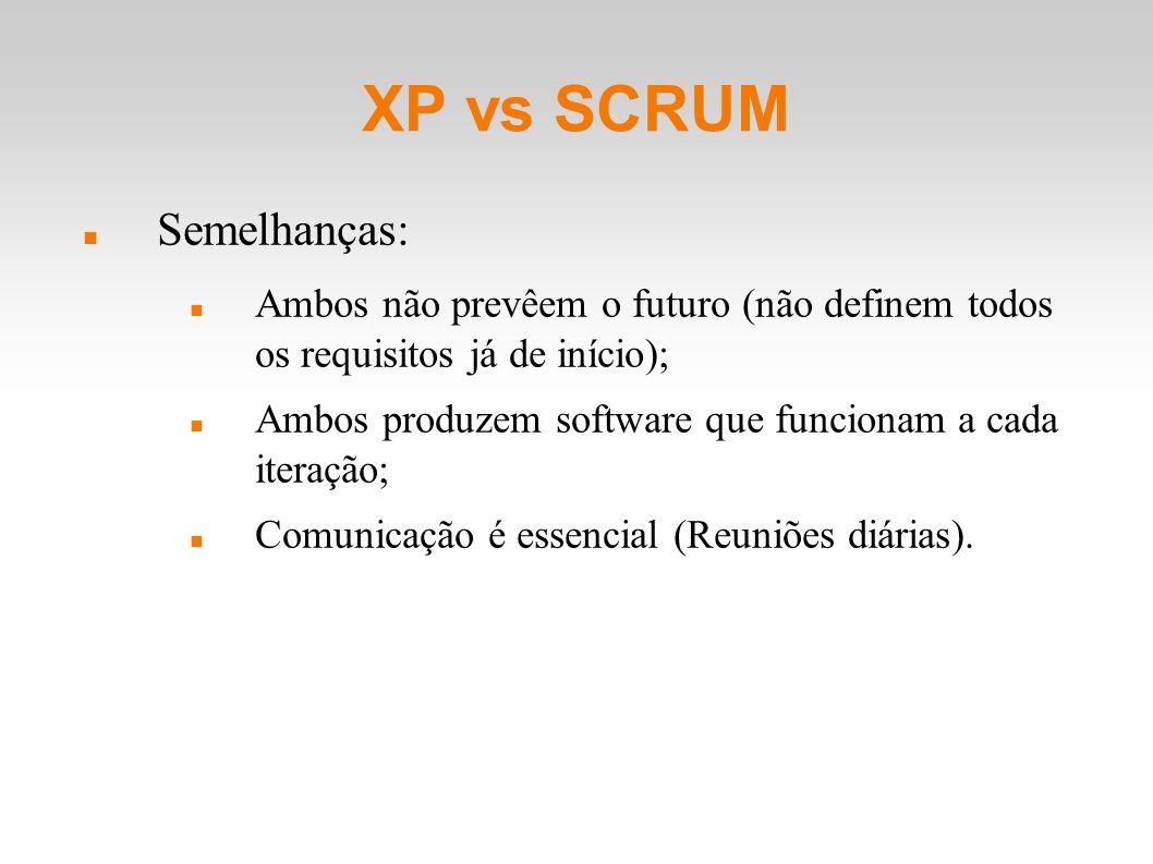 XP vs SCRUM Semelhanças: Ambos não prevêem o futuro (não definem todos os requisitos já de início); Ambos produzem software que funcionam a cada itera