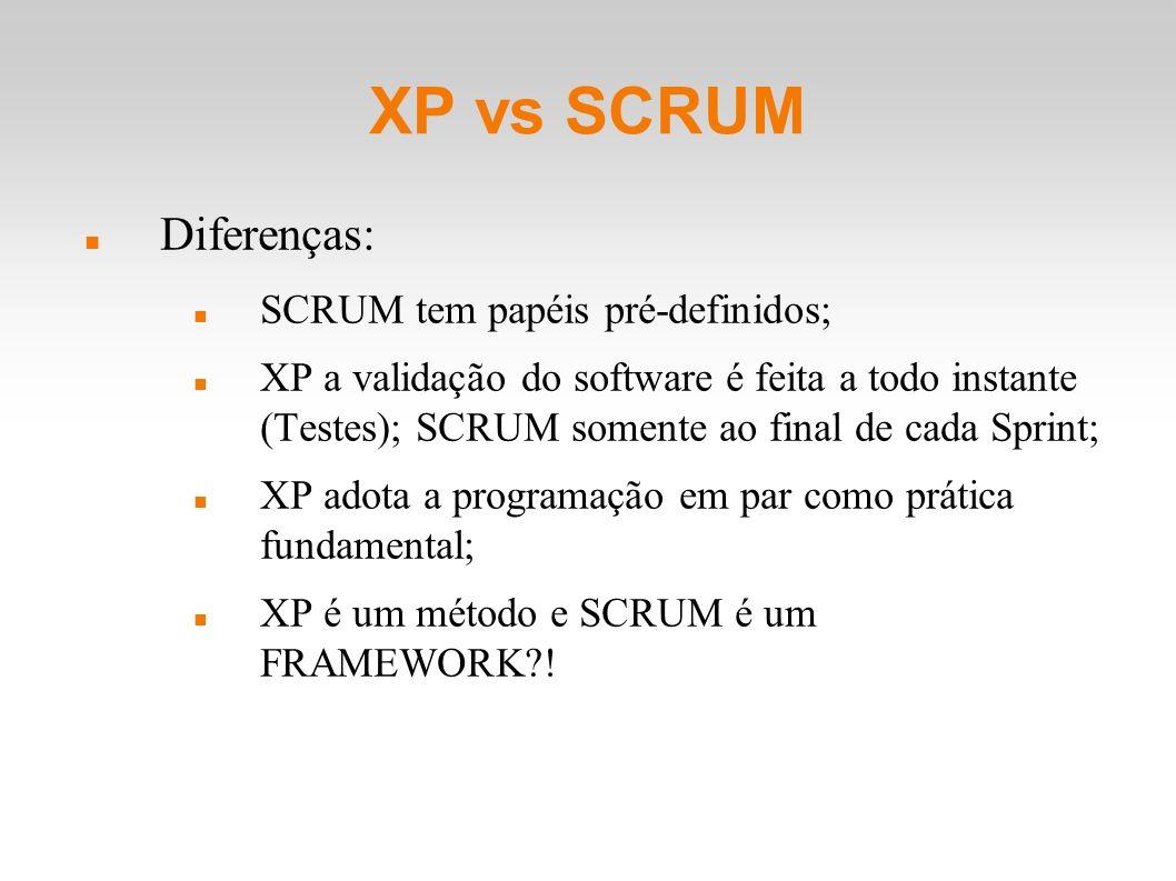 XP vs SCRUM Diferenças: SCRUM tem papéis pré-definidos; XP a validação do software é feita a todo instante (Testes); SCRUM somente ao final de cada Sp