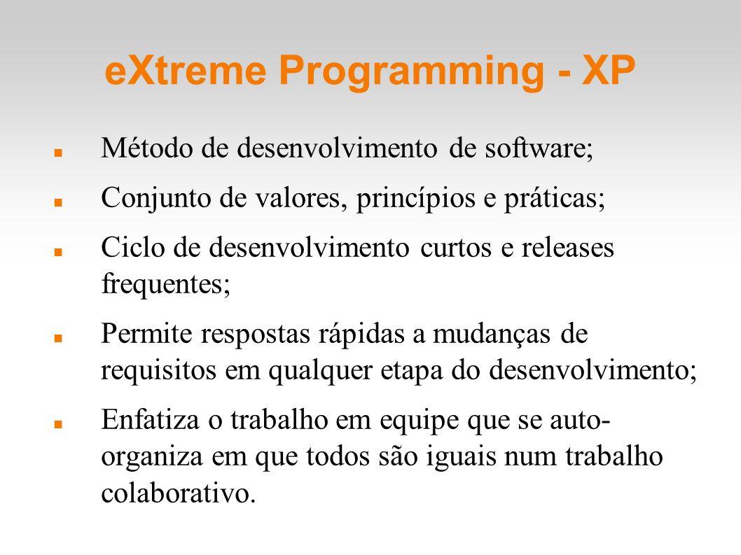 eXtreme Programming - XP Método de desenvolvimento de software; Conjunto de valores, princípios e práticas; Ciclo de desenvolvimento curtos e releases