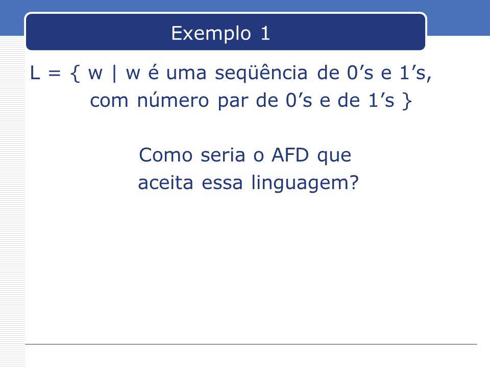 Exemplo 1 L = { w | w é uma seqüência de 0s e 1s, com número par de 0s e de 1s } Como seria o AFD que aceita essa linguagem?