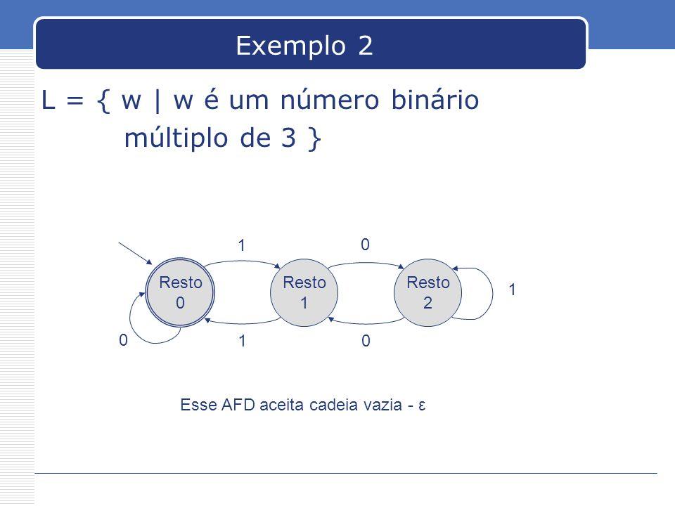 Exemplo 2 L = { w | w é um número binário múltiplo de 3 } Resto 0 Resto 1 Resto 2 1 1 0 0 1 0 Esse AFD aceita cadeia vazia - ε