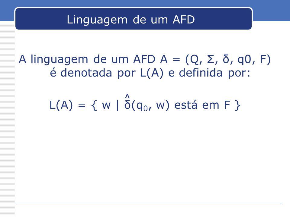 Linguagem de um AFD A linguagem de um AFD A = (Q, Σ, δ, q0, F) é denotada por L(A) e definida por: L(A) = { w | δ(q 0, w) está em F } ^