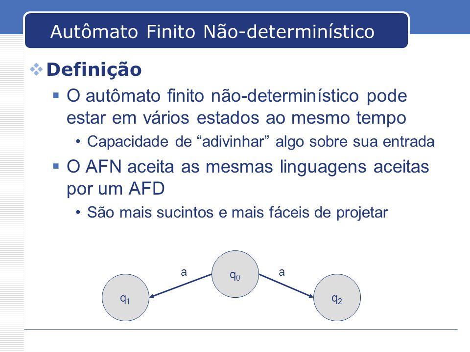 Autômato Finito Não-determinístico Definição O autômato finito não-determinístico pode estar em vários estados ao mesmo tempo Capacidade de adivinhar