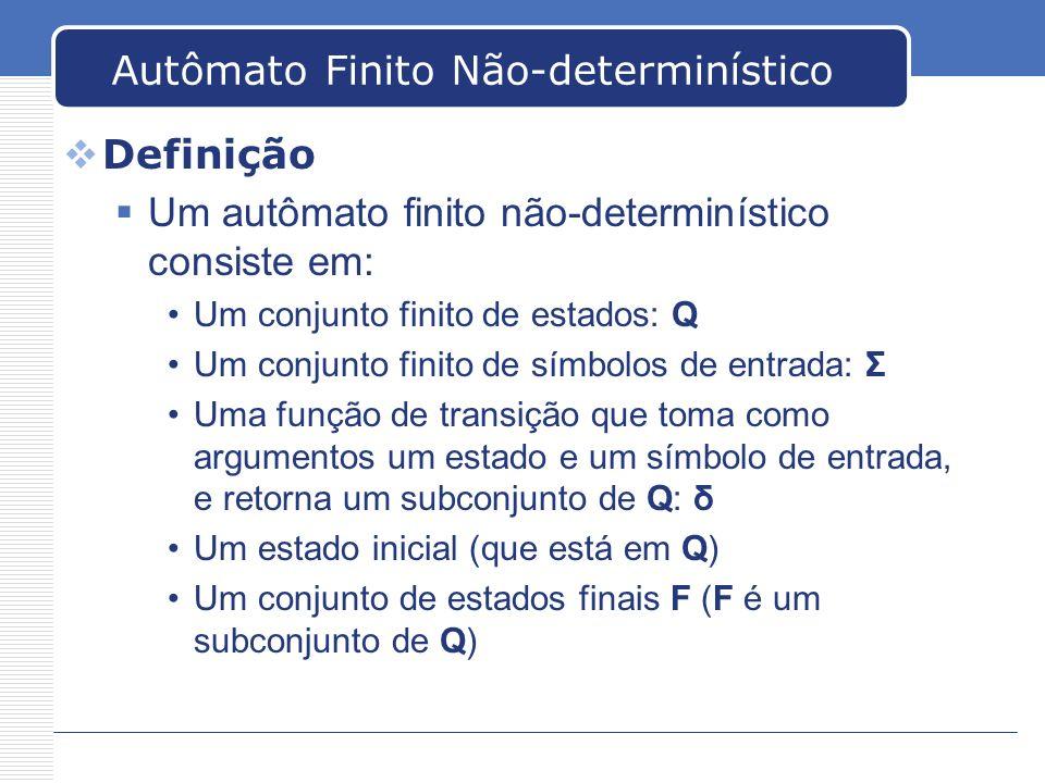 Autômato Finito Não-determinístico Definição Um autômato finito não-determinístico consiste em: Um conjunto finito de estados: Q Um conjunto finito de