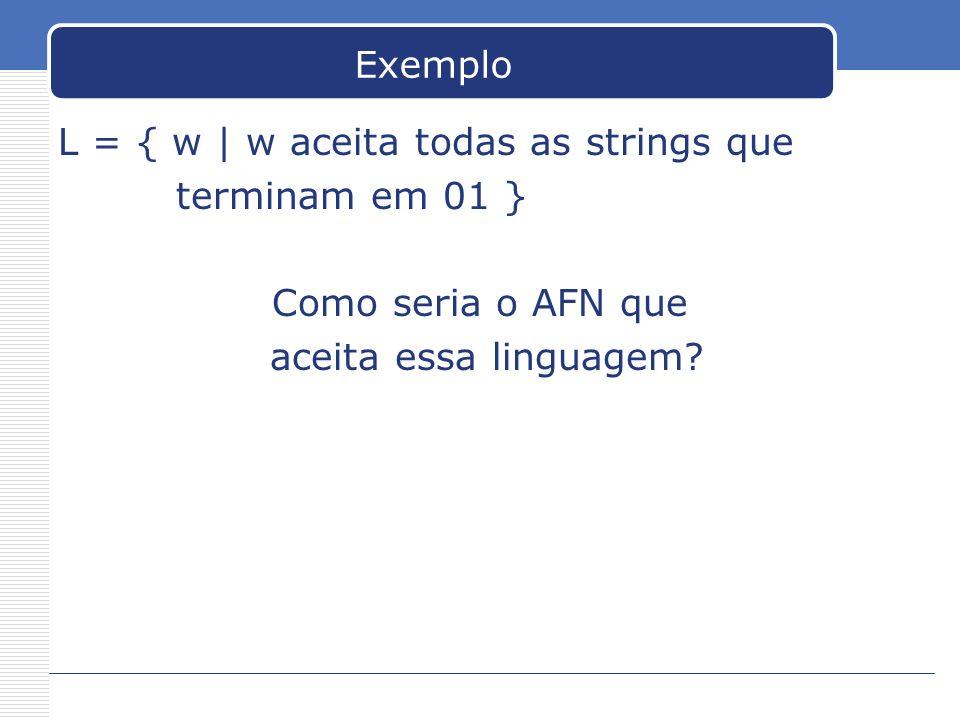 Exemplo L = { w | w aceita todas as strings que terminam em 01 } Como seria o AFN que aceita essa linguagem?