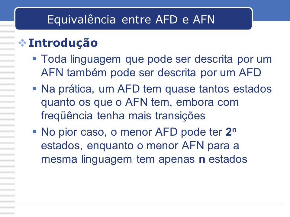 Equivalência entre AFD e AFN Introdução Toda linguagem que pode ser descrita por um AFN também pode ser descrita por um AFD Na prática, um AFD tem qua