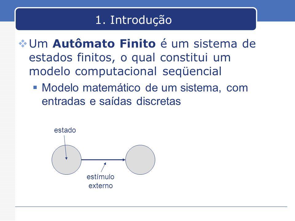 1. Introdução Um Autômato Finito é um sistema de estados finitos, o qual constitui um modelo computacional seqüencial Modelo matemático de um sistema,