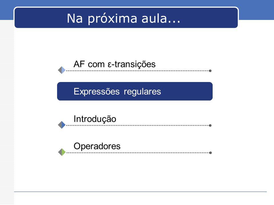Na próxima aula... AF com ε-transições Expressões regulares Introdução Operadores
