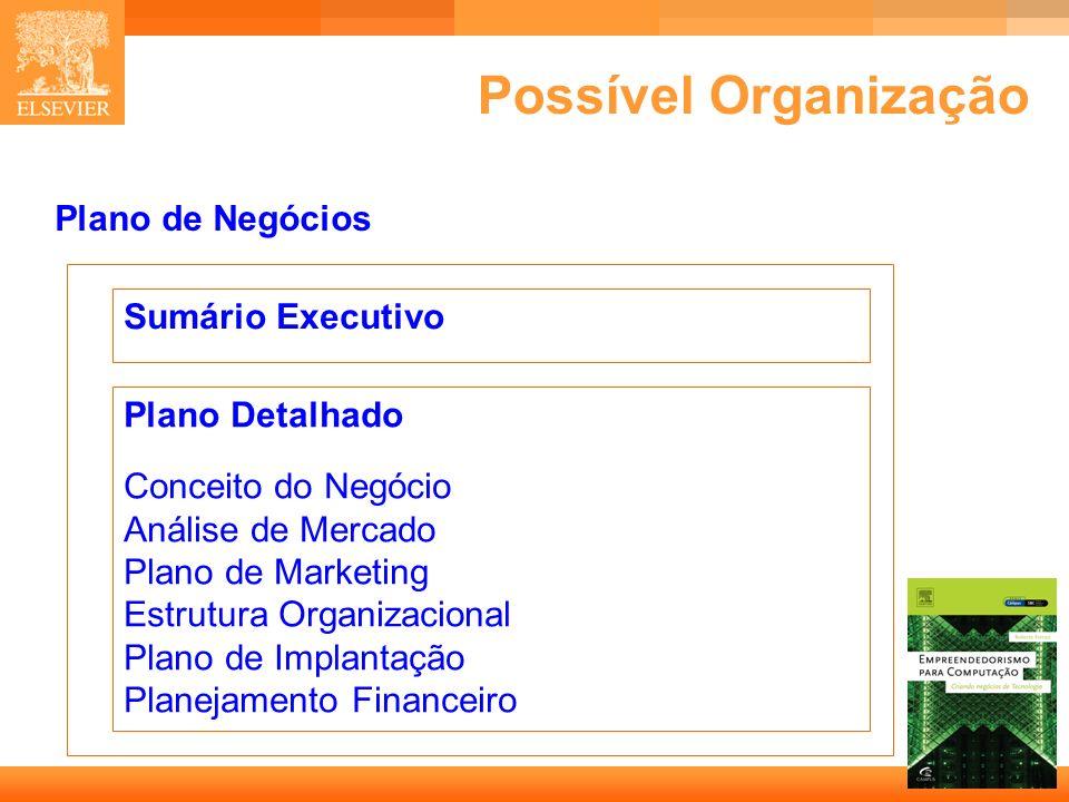 18 Capa Possível Organização Sumário Executivo Plano Detalhado Conceito do Negócio Análise de Mercado Plano de Marketing Estrutura Organizacional Plano de Implantação Planejamento Financeiro Plano de Negócios