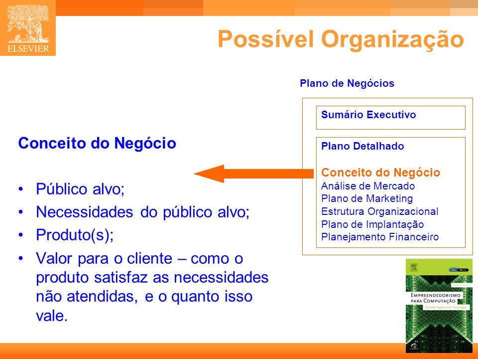 19 Capa Possível Organização Conceito do Negócio Público alvo; Necessidades do público alvo; Produto(s); Valor para o cliente – como o produto satisfaz as necessidades não atendidas, e o quanto isso vale.