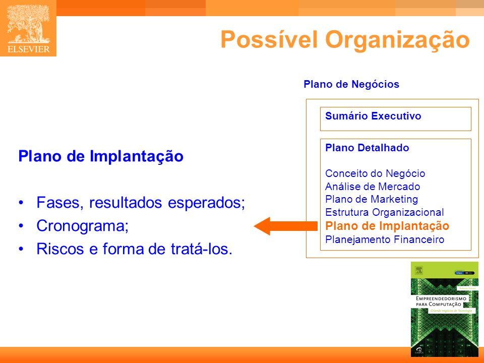 23 Capa Possível Organização Plano de Implantação Fases, resultados esperados; Cronograma; Riscos e forma de tratá-los. Sumário Executivo Plano Detalh