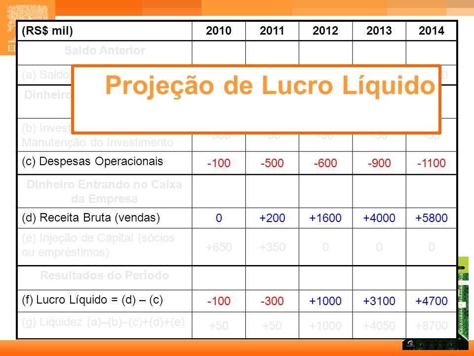 12 Capa (RS$ mil)20102011201220132014 Saldo Anterior (a) Saldo Anterior 0+50 +1000+4050 Dinheiro Saindo do Caixa da Empresa (b) Investimento Inicial e