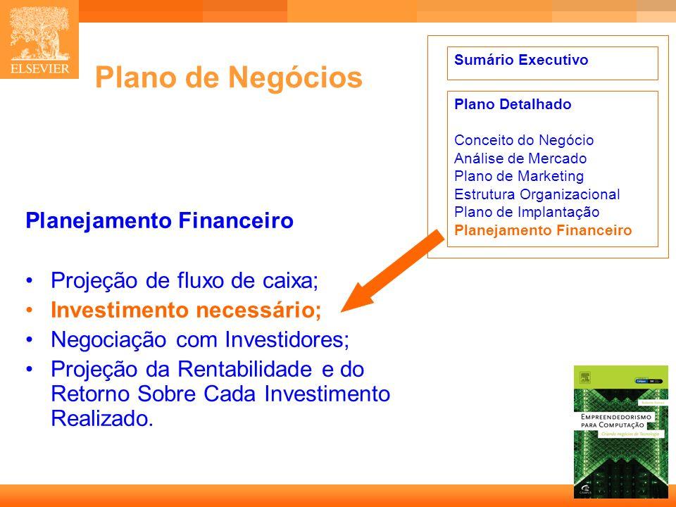 13 Capa Plano de Negócios Planejamento Financeiro Projeção de fluxo de caixa; Investimento necessário; Negociação com Investidores; Projeção da Rentab