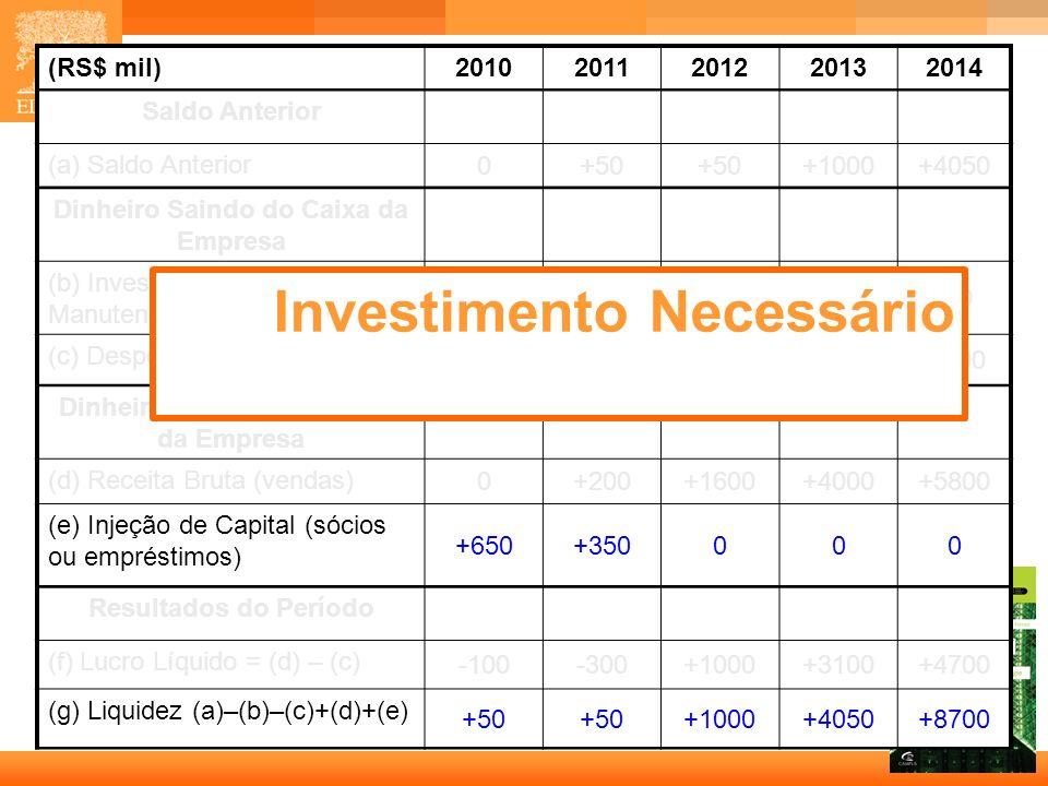 14 Capa (RS$ mil)20102011201220132014 Saldo Anterior (a) Saldo Anterior 0+50 +1000+4050 Dinheiro Saindo do Caixa da Empresa (b) Investimento Inicial e