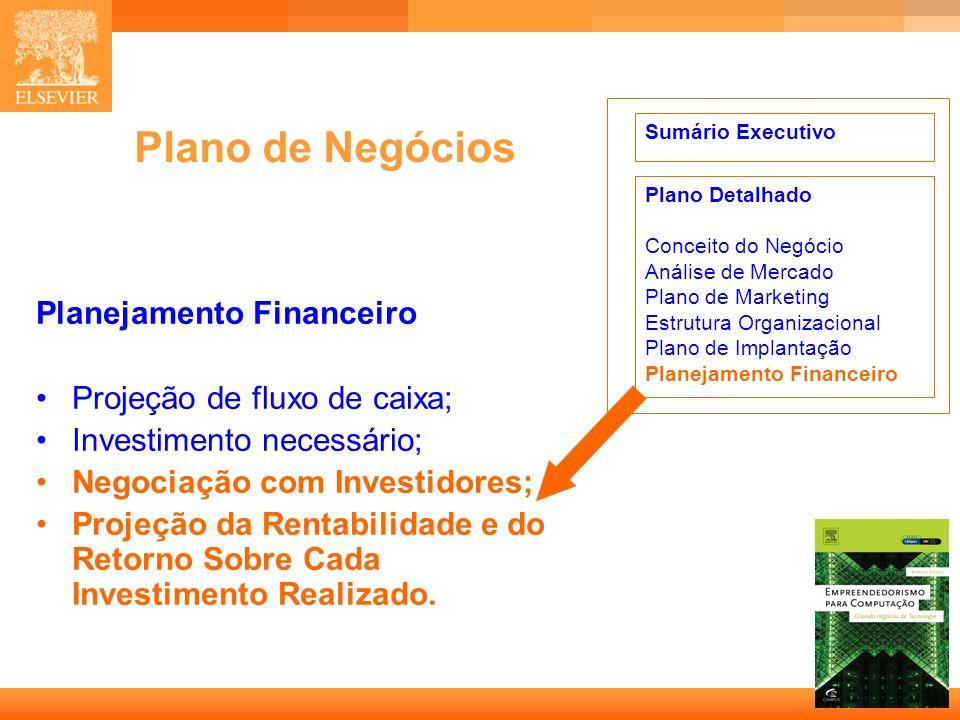18 Capa Plano de Negócios Planejamento Financeiro Projeção de fluxo de caixa; Investimento necessário; Negociação com Investidores; Projeção da Rentab