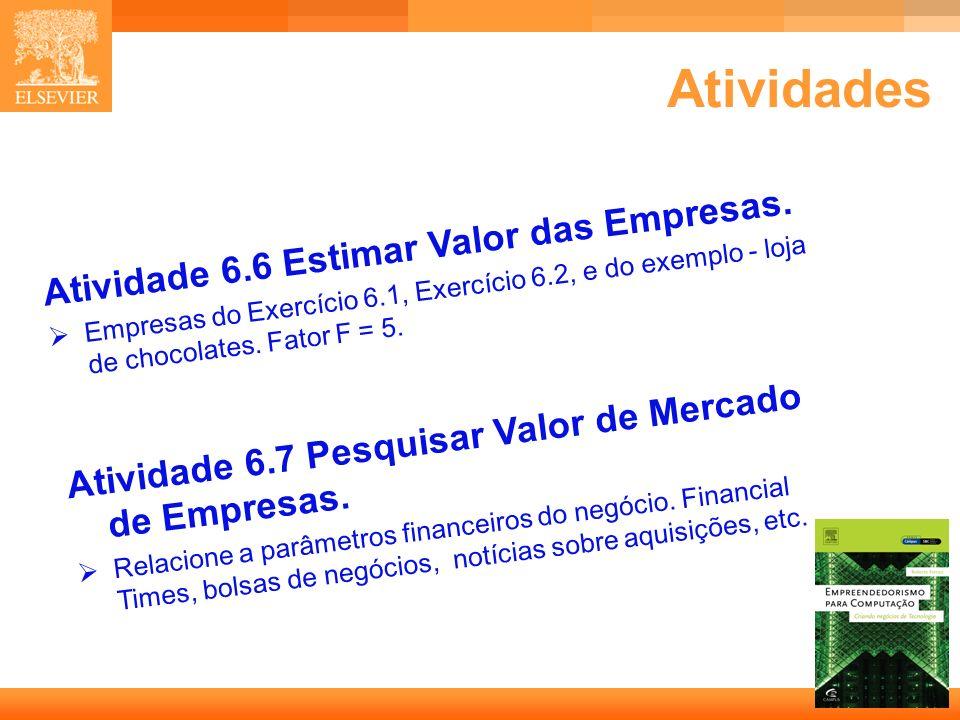 24 Capa Atividades Atividade 6.6 Estimar Valor das Empresas. Empresas do Exercício 6.1, Exercício 6.2, e do exemplo - loja de chocolates. Fator F = 5.