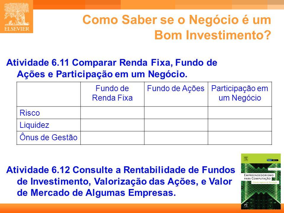 34 Capa Como Saber se o Negócio é um Bom Investimento? Atividade 6.11 Comparar Renda Fixa, Fundo de Ações e Participação em um Negócio. Fundo de Renda