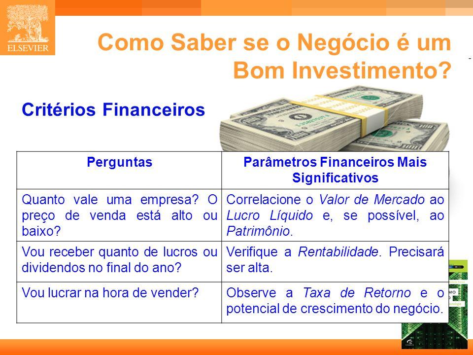35 Capa Como Saber se o Negócio é um Bom Investimento? Critérios Financeiros PerguntasParâmetros Financeiros Mais Significativos Quanto vale uma empre