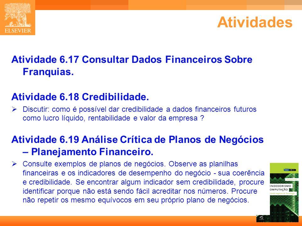 39 Capa Atividades Atividade 6.17 Consultar Dados Financeiros Sobre Franquias. Atividade 6.18 Credibilidade. Discutir: como é possível dar credibilida