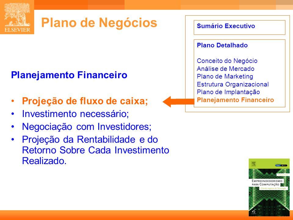 8 Capa Plano de Negócios Planejamento Financeiro Projeção de fluxo de caixa; Investimento necessário; Negociação com Investidores; Projeção da Rentabi